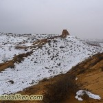 Great wall covered by snow in the Ordos desert