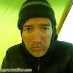 Cold morning in the tent. I had a fine layer of coal dust on my face.