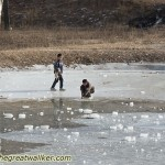 Playing on an icy lake.