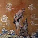 I pass many temples along the Great Wall, and sometimes rest there. The temples often have paintings like this on the walls.