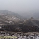 Dark and snowy conditions by the Great Wall.