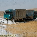 The two lorries managed to avoid a serious crash. After snowfall there are a lot of accidents on the roads.