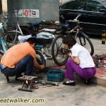 With so many bicycles around, you never need go far to find somewhere to get a puncture fixed.