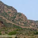 Here the Great Wall ends at the bottom of a steep cliff.