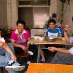 A cheerful gang working in a Baoze shop in Zunhua.